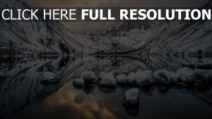 winter berg see schnee felsen himmel spiegelung
