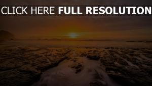 strand felsen meer sonnenuntergang himmel horizont dunst