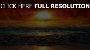 sonne himmel wolken meer wellen strand sonnenuntergang