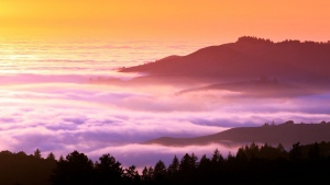 berge nebel berg sonnenuntergang himmel