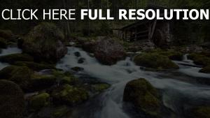 fluss gebirge wasserfall haus mühl steine
