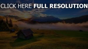 tal berge sonne sonnenuntergang haus nebel
