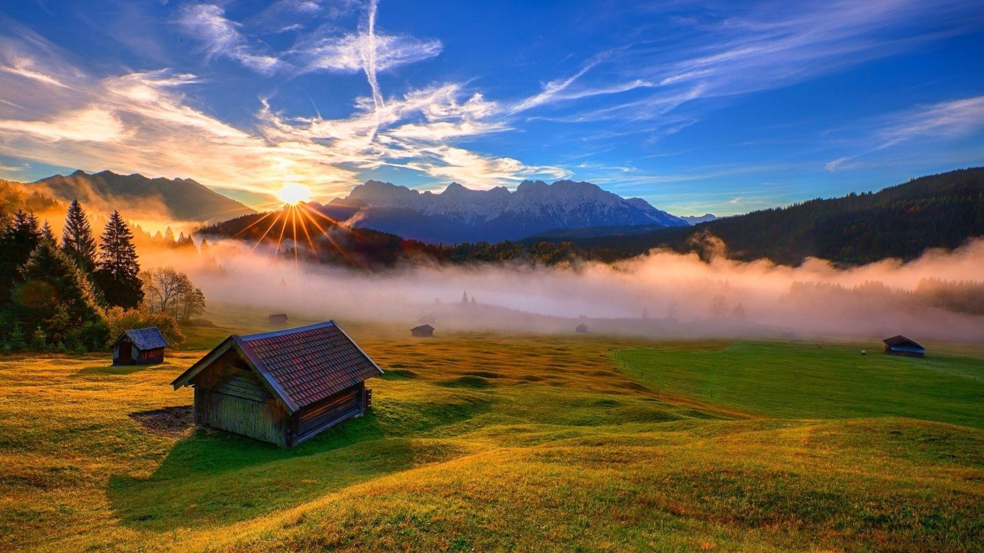 Haus am meer bei sonnenuntergang  HD Hintergrundbilder tal berge sonne sonnenuntergang haus nebel ...
