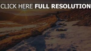 berge sonne strahlen sonnenuntergang steine schnee