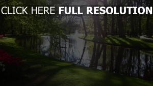 park bäume teich gras strand liegewiese