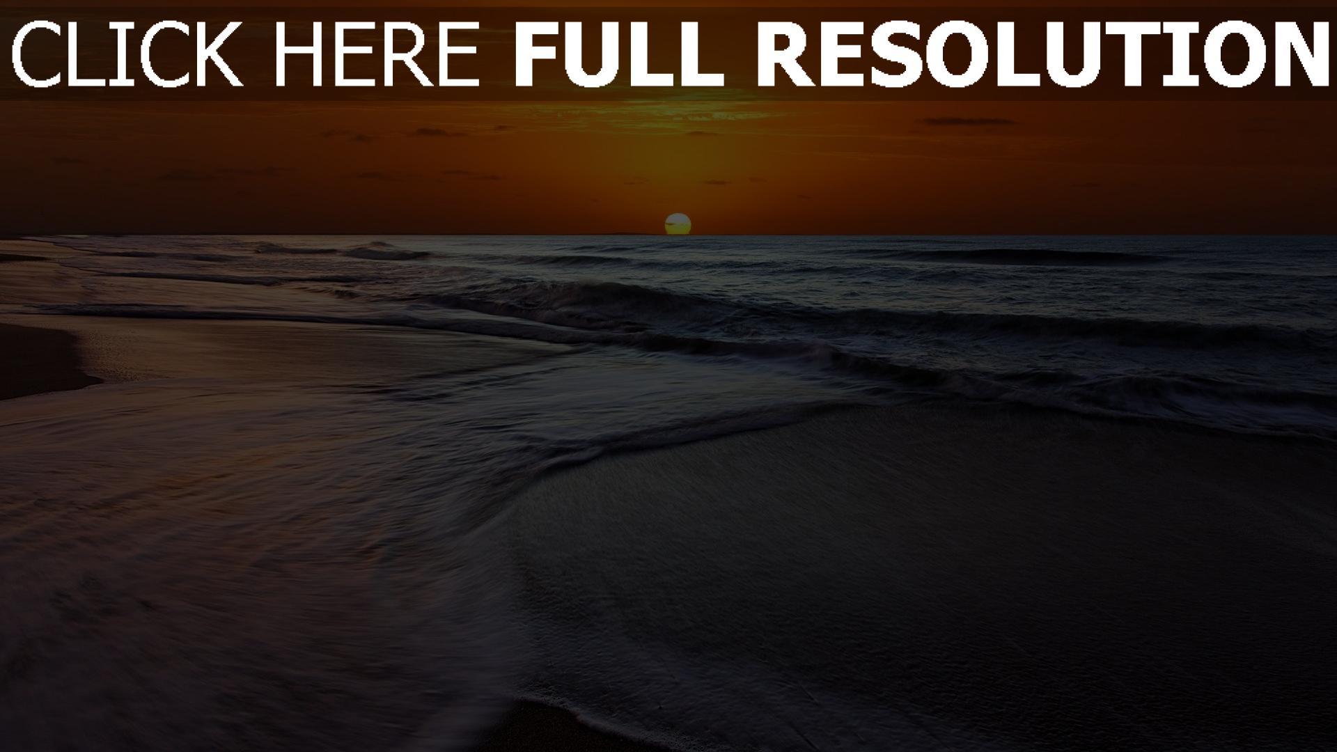 hd hintergrundbilder meer wellen sonne sonnenuntergang himmel orange desktop hintergrund. Black Bedroom Furniture Sets. Home Design Ideas