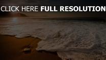 morgen sonne meer sand wellen schaum