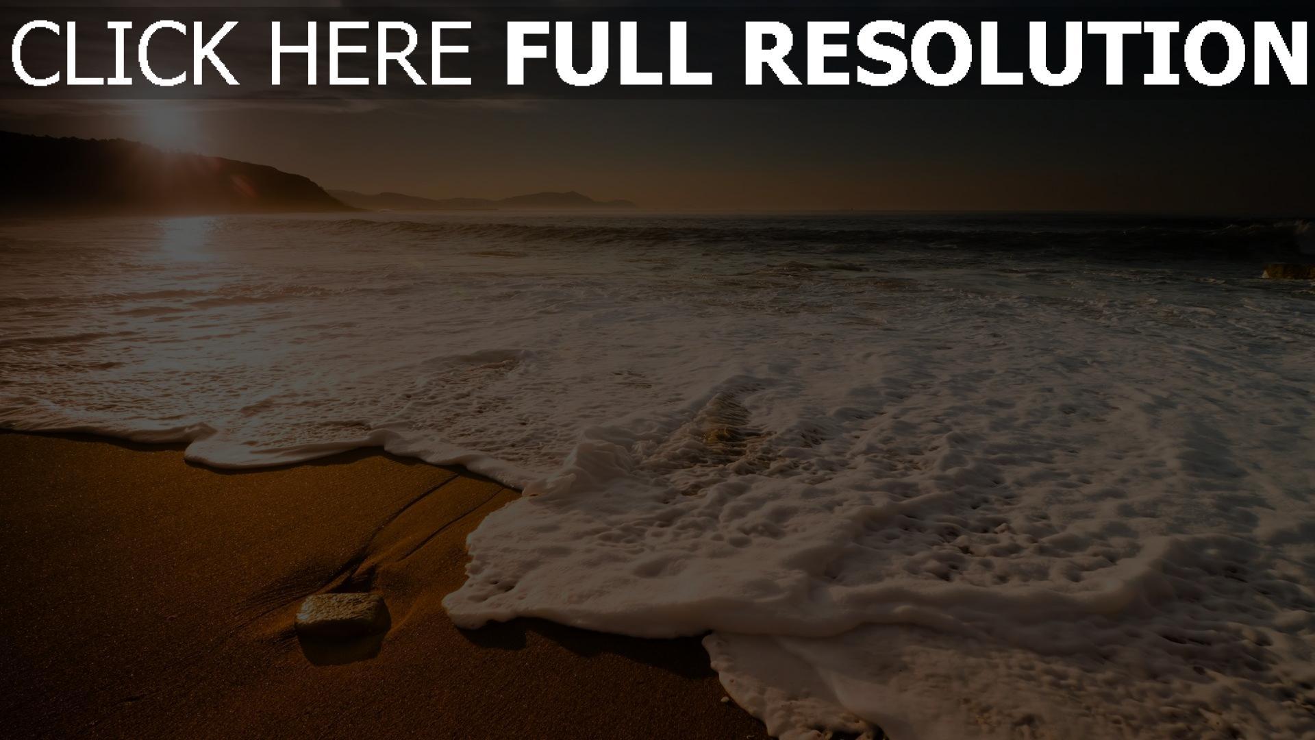 HD Hintergrundbilder morgen sonne meer sand wellen schaum ...