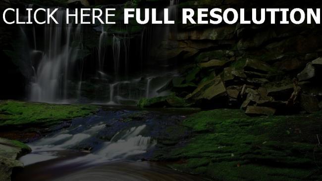 hd hintergrundbilder wasserfall wasser strom nebenfluss felsen moos