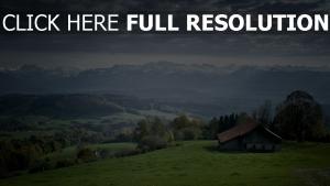 berge berg haus horizont landschaft