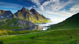 berge bucht straße himmel wolken nördlichen landschaft