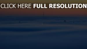 blau nebel sonnenuntergang orange himmel