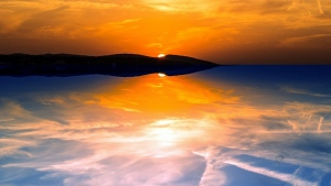 sonnenuntergang bucht himmel wolken reflexion ruhe