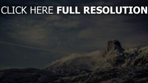 sternenhimmel berge felsen wolken milchstraße