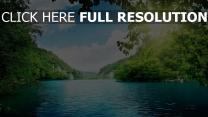 see bäume ufer wasser blau schön