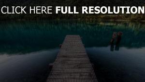 bergsee pier planken wasser boden steine