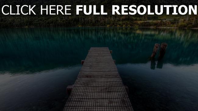 hd hintergrundbilder bergsee pier planken wasser boden steine