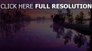 sonnenaufgang fluss nebel himmel rosa blau