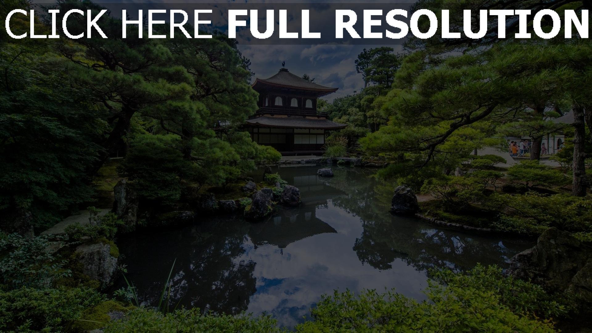 Hd Hintergrundbilder Japanische Garten Teich Bäume Harmonie Desktop