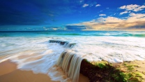 meer felsen wasserfälle strand sand himmel