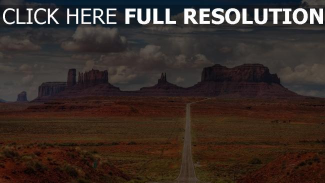 hd hintergrundbilder wüste straße gerade berge wolken himmel