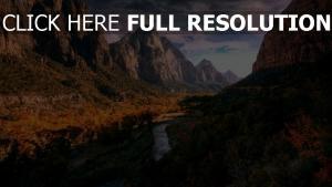 canyon fluss bäume herbst berge