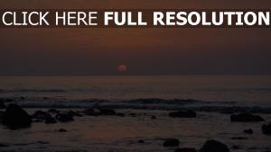 meer felsen dunst sonnenuntergang horizont