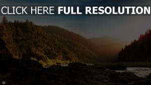 sonnenaufgang bergen fluss felsen wunderschöne