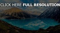 see blau berge reflexion himmel