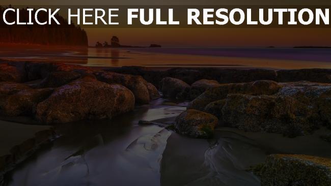 hd hintergrundbilder felsen meer strand nassen sand sonnenuntergang