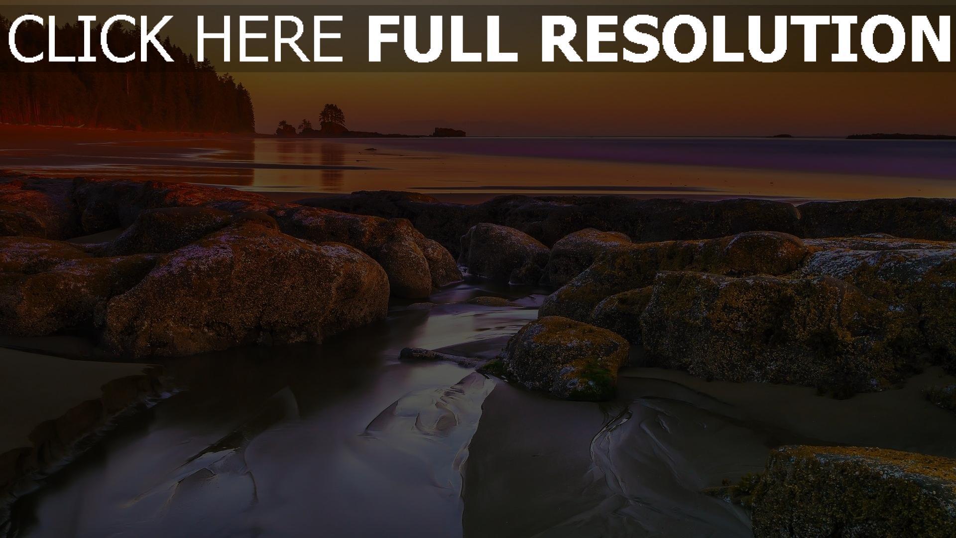 hd hintergrundbilder felsen meer strand nassen sand sonnenuntergang 1920x1080