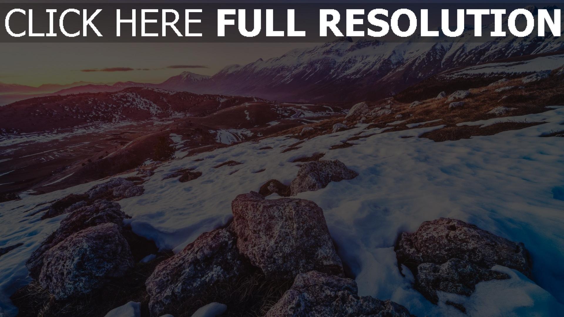 hd hintergrundbilder schnee berge felsen steine höhe 1920x1080