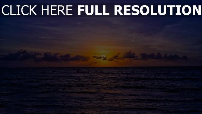 hd hintergrundbilder meer wellen himmel orange wolken sonnenuntergang