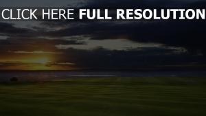 field meer horizont sonnenuntergang golf