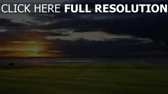 hd hintergrundbilder field meer horizont sonnenuntergang golf