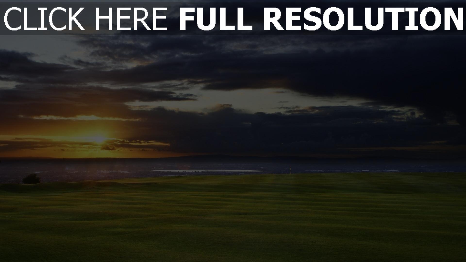 hd hintergrundbilder field meer horizont sonnenuntergang golf 1920x1080