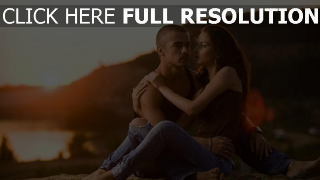 hd hintergrundbilder paar romantik liebe sonnenuntergang