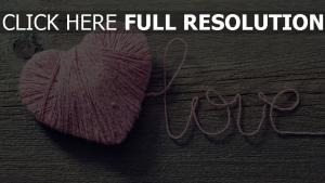 herz nähen knäuel holz romantisch