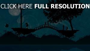 brücke bäume silhouetten romantisch