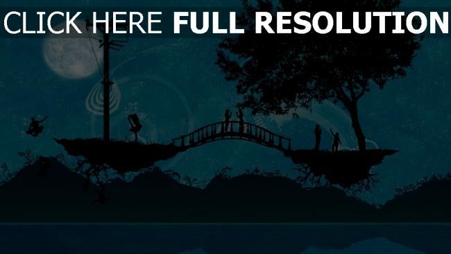 hd hintergrundbilder brücke bäume silhouetten romantisch