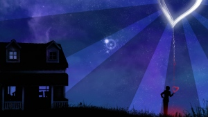 haus nacht sterne herz silhouette