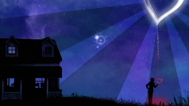 hd hintergrundbilder haus nacht sterne herz silhouette