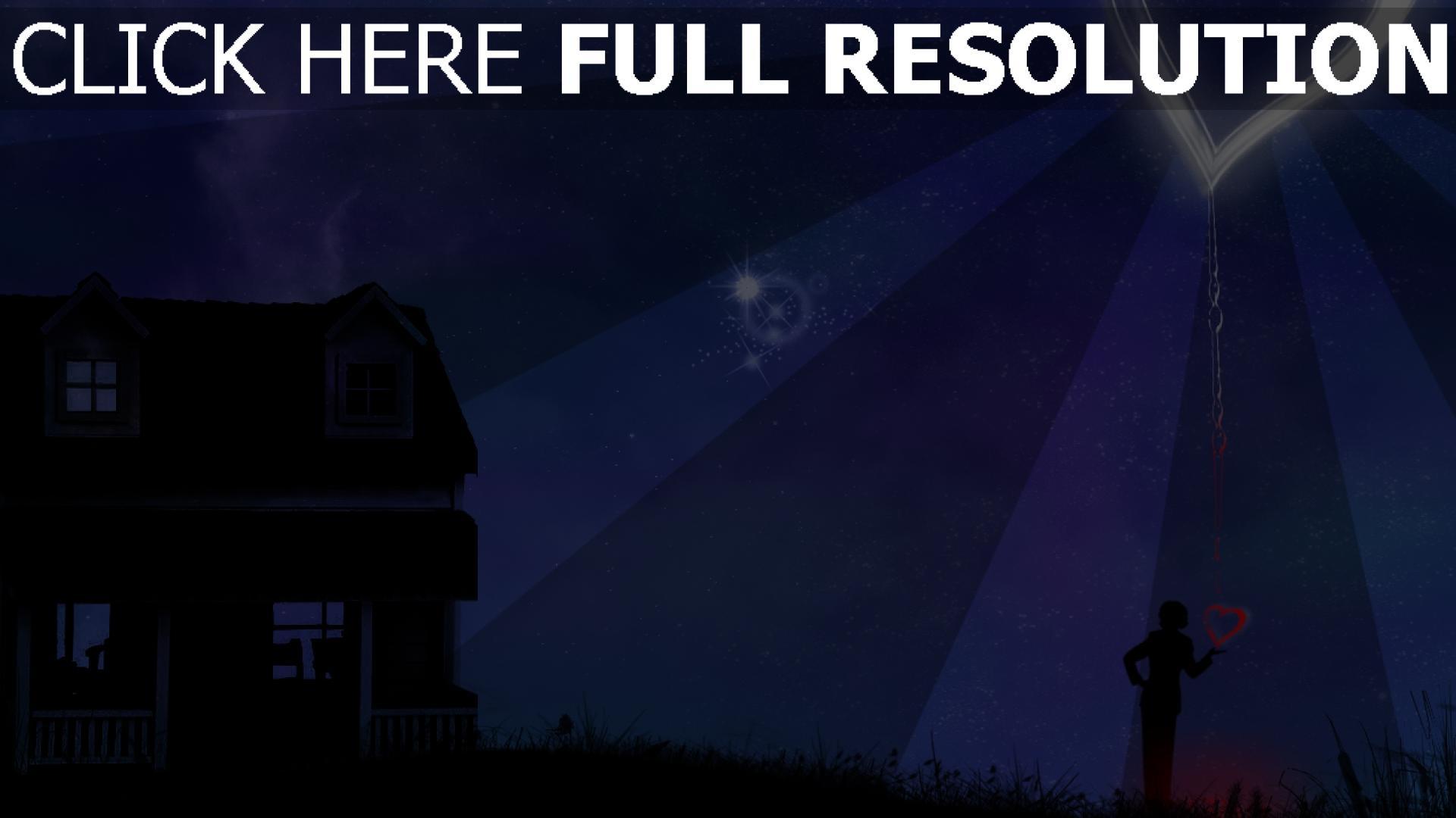 hd hintergrundbilder haus nacht sterne herz silhouette 1920x1080