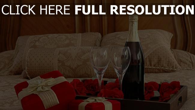 hd hintergrundbilder champagner gläser rosen romantik