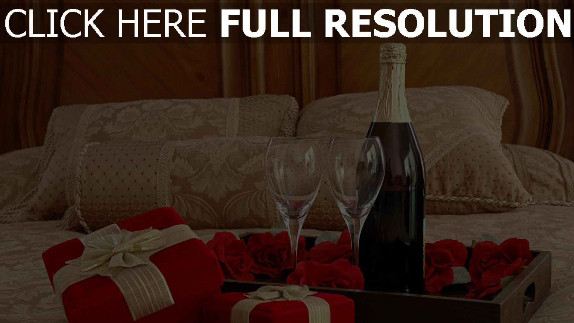 hd hintergrundbilder champagner gläser rosen romantik 1920x1080