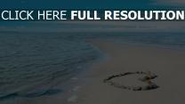 herz felsen meer sand sommer romantik