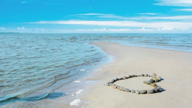 hd hintergrundbilder herz felsen meer sand sommer romantik