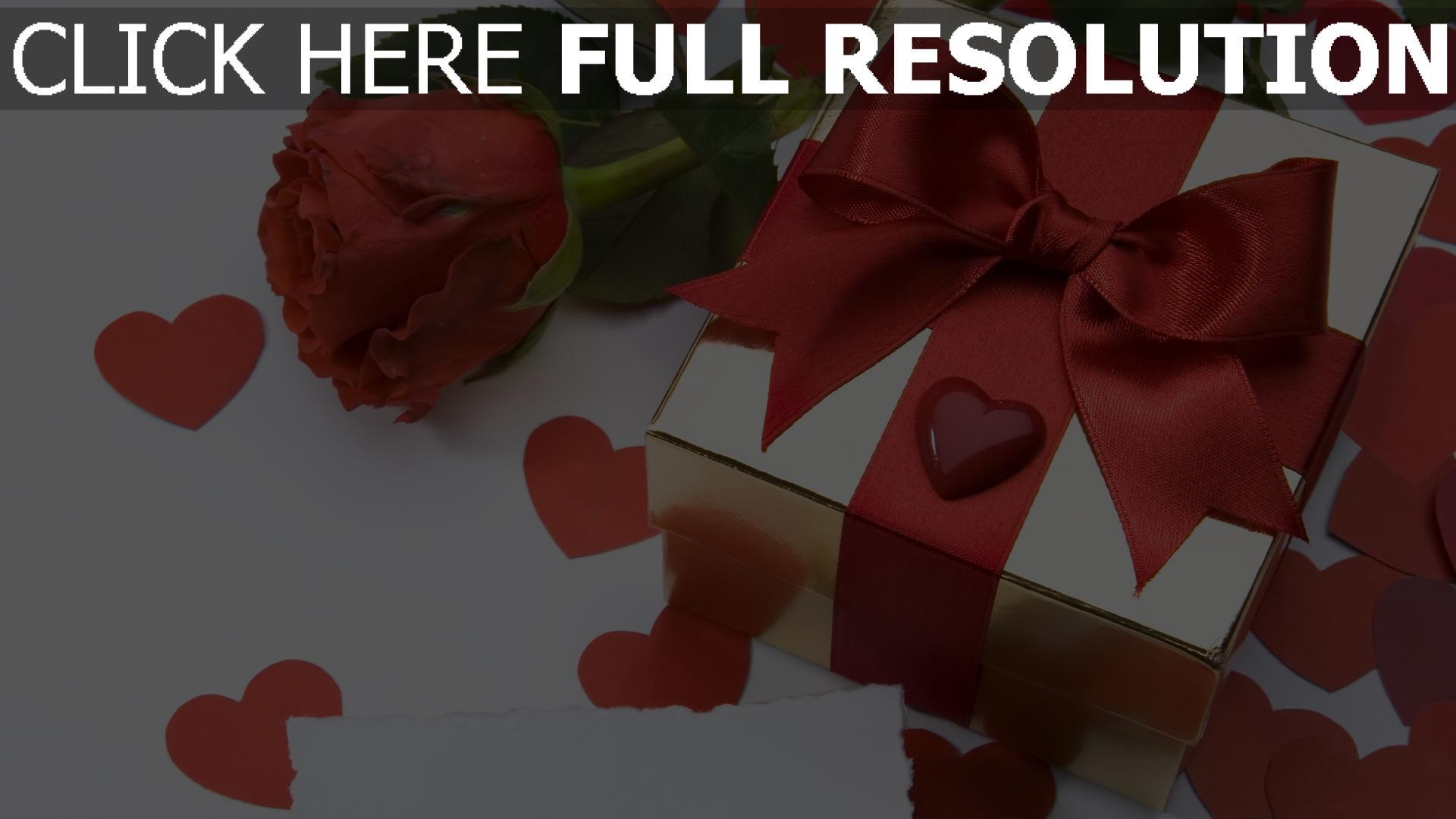 hd hintergrundbilder bogen rose herz geschenk romantik 1920x1080