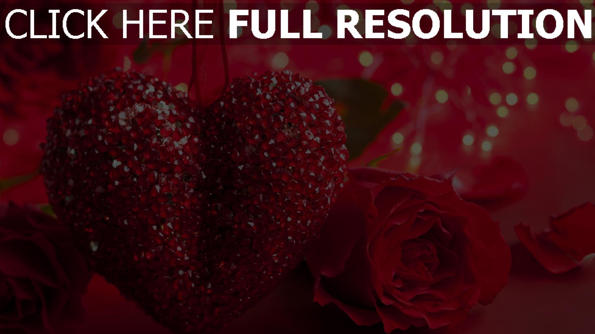 hd hintergrundbilder blumen rosen herzen glitter romance 1920x1080