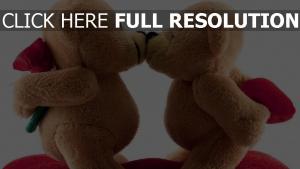 bären spielzeug paar küssen romantisch